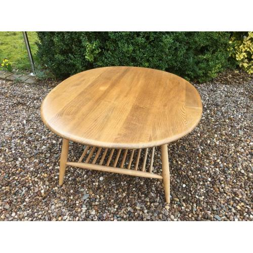 Ercol Oval Coffee Table Windsor Supper Natural Blonde Elm No 454 Spindle Rack