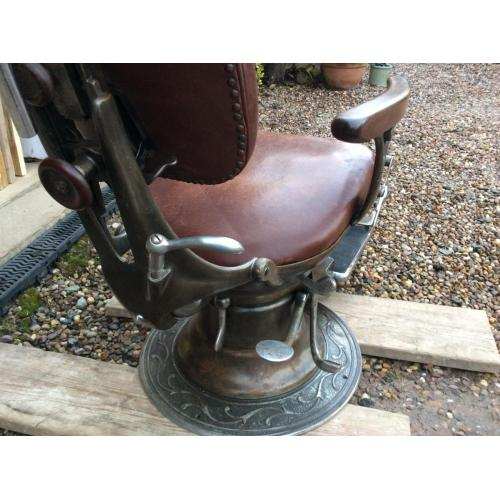 Antique Dentist Chair American SS White 1902 Barbers Cast Iron Leather  Tattooist - Antique Dentist Chair American SS White 1902 Barbers Cast Iron