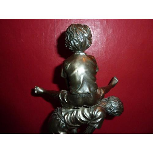 Resin Bronze Style figure of children playing